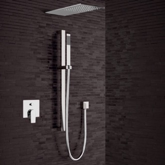 Shower Faucet Chrome Shower System with Sleek Rain Shower Head and Hand Shower Remer SFR29