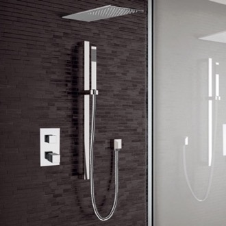 Shower Faucet Chrome Thermostatic Shower System with Sleek Rain Shower Head and Hand Shower Remer SFR30
