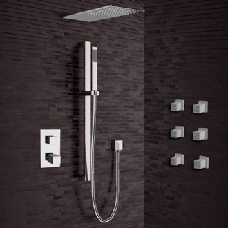 Shower Faucet Chrome Thermostatic Shower System with Sleek Rain Shower Head and Hand Shower Remer SFR31