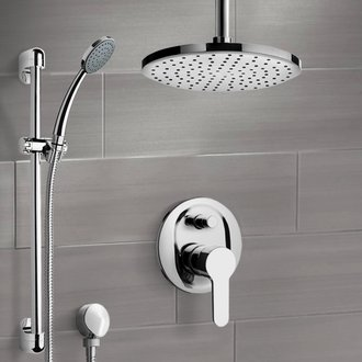 Shower Faucet Chrome Shower Set with Rain Ceiling Shower Head and Hand Shower Remer SFR49