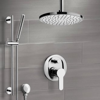Shower Faucet Chrome Shower Set with Rain Ceiling Shower Head and Hand Shower Remer SFR50