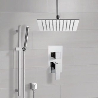 Shower Faucet Chrome Ceiling Shower System With Rain Shower Head and Hand Shower Remer SFR51