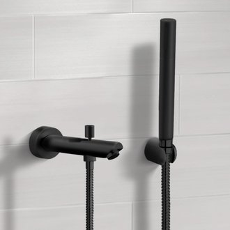 Tub Spout Matte Black Wall Mounted Tub Spout Kit with Hand Shower Remer TDH05