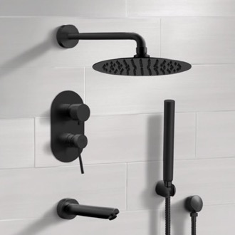 Tub and Shower Faucet Matte Black Tub and Shower System with Rain Shower Head and Hand Shower Remer TSH34