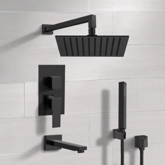 Tub and Shower Faucet Matte Black Tub and Shower Set with Rain Shower Head and Hand Shower Remer TSH35