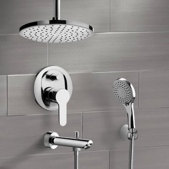 Tub and Shower Faucet Chrome Tub and Shower Set with Rain Ceiling Shower Head and Hand Shower Remer TSH37