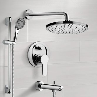 Tub and Shower Faucet Chrome Tub and Shower Faucet Set With Rain Shower Head and Hand Shower Remer TSR53