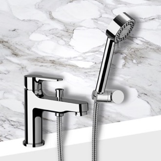 Tub Filler Bath and Shower Mixer With Hand Shower and Bracket in Chrome Finish Remer W03