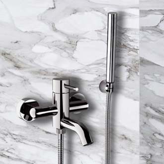 Tub Filler Bath and Shower Mixer With Hand Shower and Bracket in Chrome Finish Remer X02