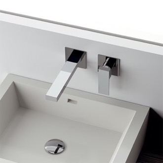 Bathroom Faucet Chrome Single Handle Wall Mounted Faucet Remer QD15P