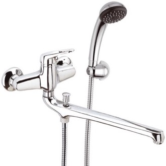Tub Filler Chrome Wall Mount Tub Faucet with Long Swivel Spout and Hand Shower Remer R49