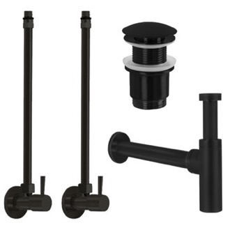 Plumbing Accessory Set Matte Black All-Inclusive Sink Installation Kit Remer SA400-NO