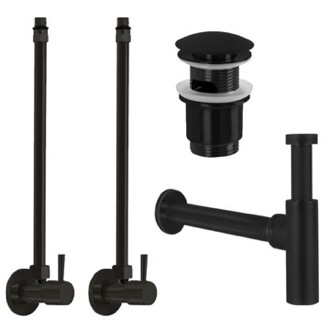 Plumbing Accessory Set Matte Black All-Inclusive Sink Installation Kit Remer SA400L-NO