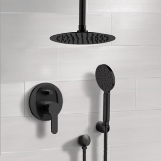 Shower Faucet Matte Black Ceiling Shower Set with Rain Shower Head and Hand Shower Remer SFH52