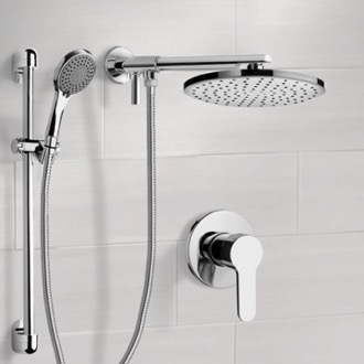 Shower Faucet Chrome Shower Set With Rain Shower Head and Hand Shower Remer SFR16