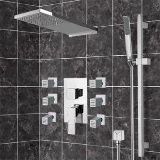 Shower Faucet Chrome Shower System with Rain Shower Head, Hand Shower, and Body Sprays Remer S10