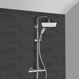 Exposed Pipe Shower Chrome Thermostatic Exposed Pipe Shower System with 10