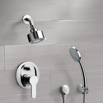 Shower Faucet Chrome Shower System with Multi Function Shower Head and Hand Shower Remer SFH09