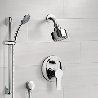 Shower Faucet Chrome Shower System with Multi Function Shower Head and Hand Shower Remer SFR13