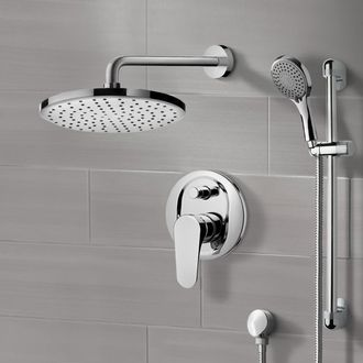 Chrome Shower System With 8 Rain Head And Hand