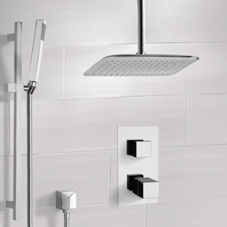 Shower Faucet Chrome Thermostatic Shower System with Ceiling 14
