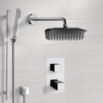 Shower Faucet Chrome Thermostatic Shower System with 8