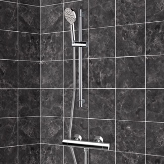 Shower Faucet Chrome Thermostatic Slidebar Shower Set With Multi Function Hand Shower Remer SR014