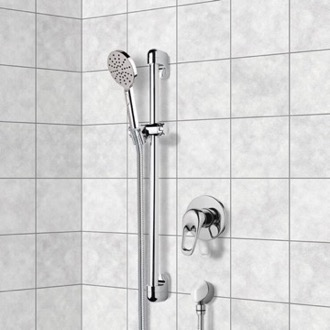 Shower Faucet Chrome Slidebar Shower Set With Multi Function Hand Shower Remer SR031