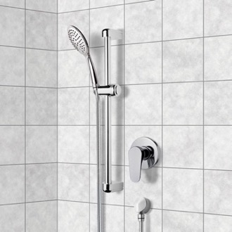 Shower Faucet Chrome Slidebar Shower Set With Multi Function Hand Shower Remer SR033