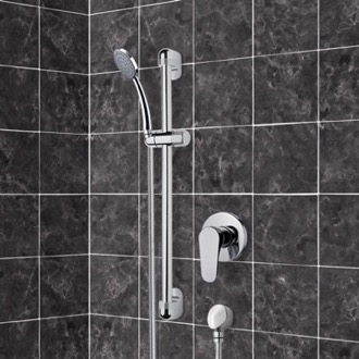 Shower Faucet Chrome Slidebar Shower Set With Hand Shower Remer SR037