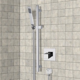 Shower Faucet Chrome Thermostatic Slidebar Shower Set With Hand Shower Remer SR040