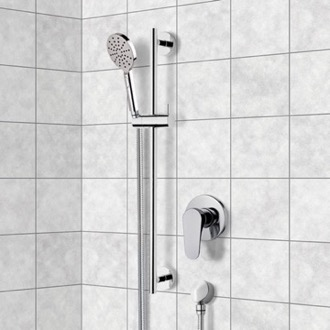 Shower Faucet Chrome Slidebar Shower Set With Multi Function Hand Shower Remer SR046