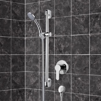 Shower Faucet Chrome Slidebar Shower Set With Hand Shower Remer SR049