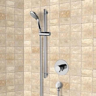 Shower Faucet Chrome Thermostatic Slidebar Shower Set With Multi Function Hand Shower Remer SR050