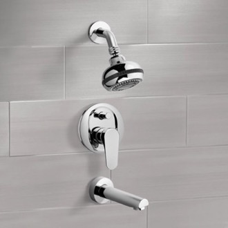 Tub and Shower Faucet Chrome Tub and Shower Faucet Sets with Multi Function Shower Head Remer TSF01
