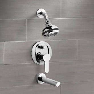 Tub and Shower Faucet Chrome Tub and Shower Faucet Sets with Multi Function Shower Head Remer TSF11