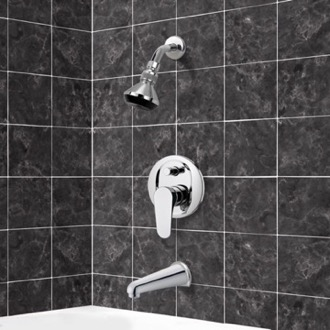 Tub and Shower Faucet Chrome Tub and Shower Faucet Sets with Adjustable Shower Head Remer TSF2063