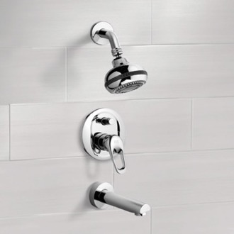 Tub and Shower Faucet Chrome Tub and Shower Faucet Sets with Multi Function Shower Head Remer TSF2082