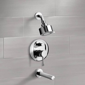 Tub and Shower Faucet Chrome Tub and Shower Faucet Sets with Multi Function Shower Head Remer TSF2083