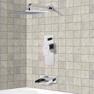 Tub and Shower Faucet Chrome Tub and Shower Faucet Sets with 8