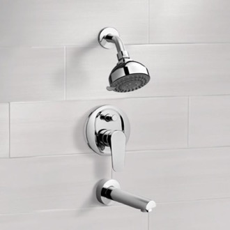 Tub and Shower Faucet Chrome Tub and Shower Faucet Sets with 3
