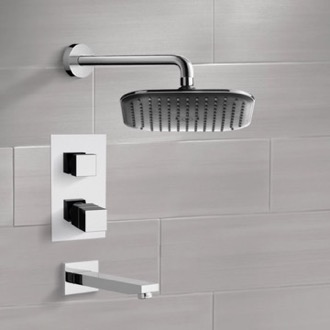 Tub and Shower Faucet Chrome Thermostatic Tub and Shower Faucet Sets with 8