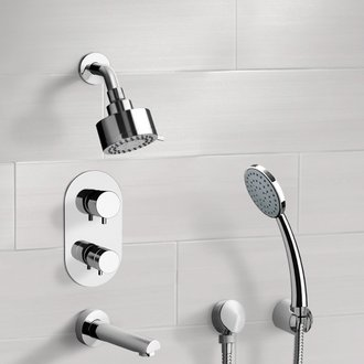 Tub and Shower Faucet Chrome Thermostatic Tub and Shower System with Multi Function Shower Head and Hand Shower Remer TSH04