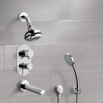 Tub and Shower Faucet Chrome Tub and Shower System with Multi Function Shower Head and Hand Shower Remer TSH05