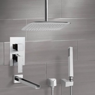 Tub and Shower Faucet Chrome Tub and Shower System with Ceiling 14