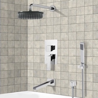 Tub and Shower Faucet Chrome Tub and Shower System with 8