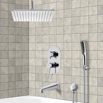 Tub and Shower Faucet Chrome Tub and Shower System with Ceiling 12