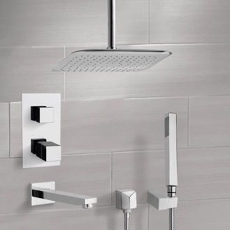Tub and Shower Faucet Chrome Thermostatic Tub and Shower System with Ceiling 14