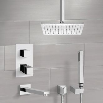 Tub and Shower Faucet Chrome Thermostatic Tub and Shower System with Ceiling 12