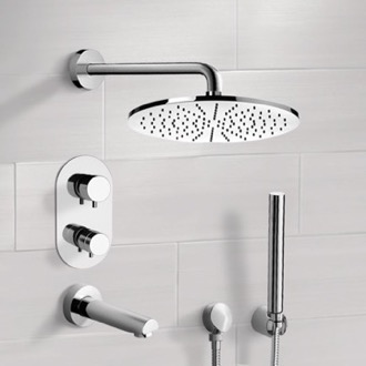Tub and Shower Faucet Chrome Thermostatic Tub and Shower System with 12